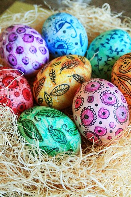 Brightly colored Easter eggs
