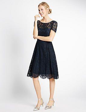 Cotton Blend Lace Short Sleeve Skater Dress