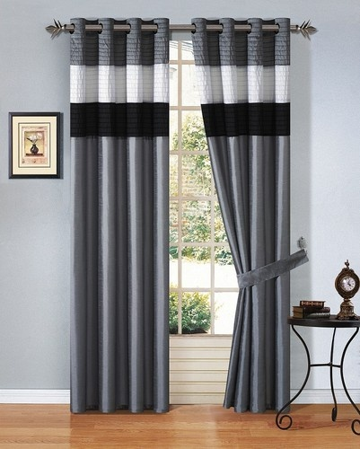 4pcs Faux Silk Grey Black White Window Curtain Panel Set W