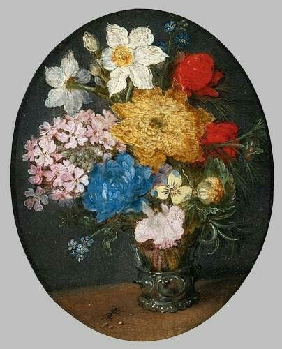 Bouquet of Flowers c. 1610 Oil on copper, oval, 9 x 7 cm Private collection