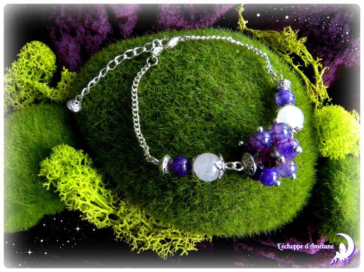 *Songe féérique* Bracelet argenté en perle de quartz rose et agate dragon