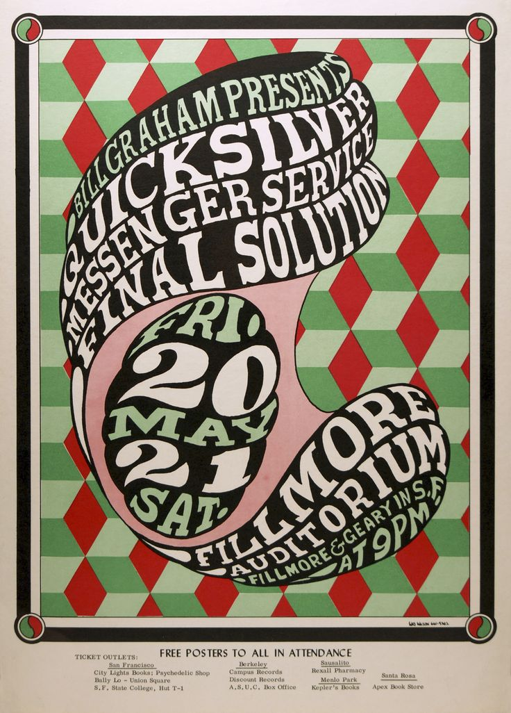 BG-7 / Quicksilver Messenger Service, Final Solution / Fillmore Auditorium, San Francisco, CA / May 20-21, 1966 / Wes Wilson