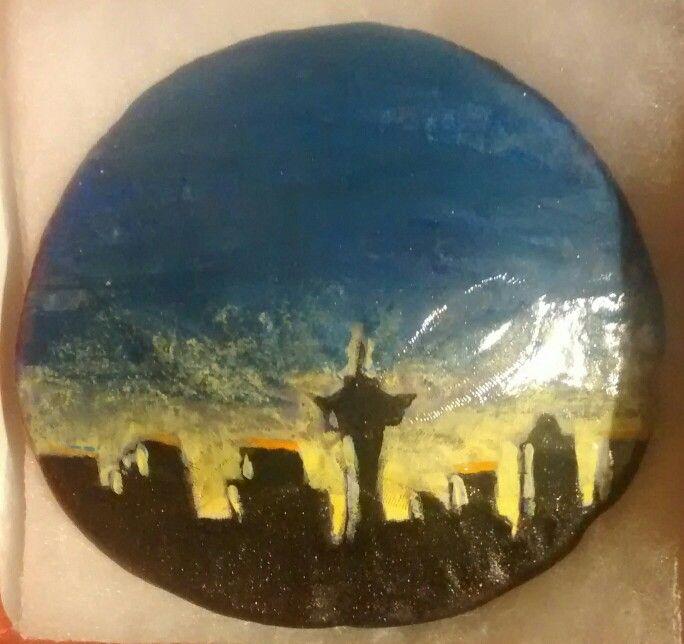 Seattle, WA skyline. (Handpainted by Brenda Preston)