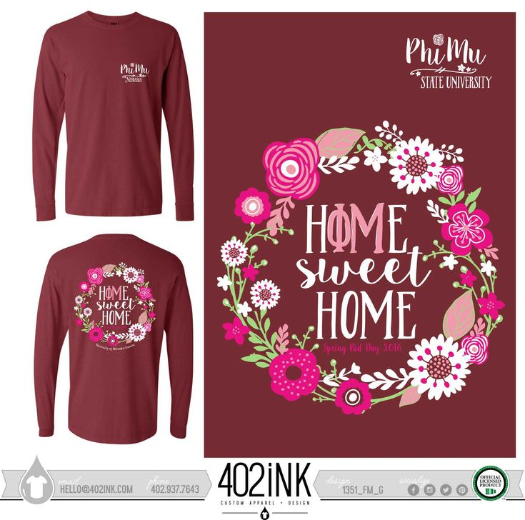 #402ink #402style 402ink, Custom Apparel, Greek T-shirts, Sorority T-shirts, Fraternity T-shirts, Greek Tanks, Custom Greek Apparel, Screen printed apparel, embroidered apparel Sorority, PM, Phi Mu, Bid Day, Bid Day Designs, Home Sweet Home, Comfort Colors