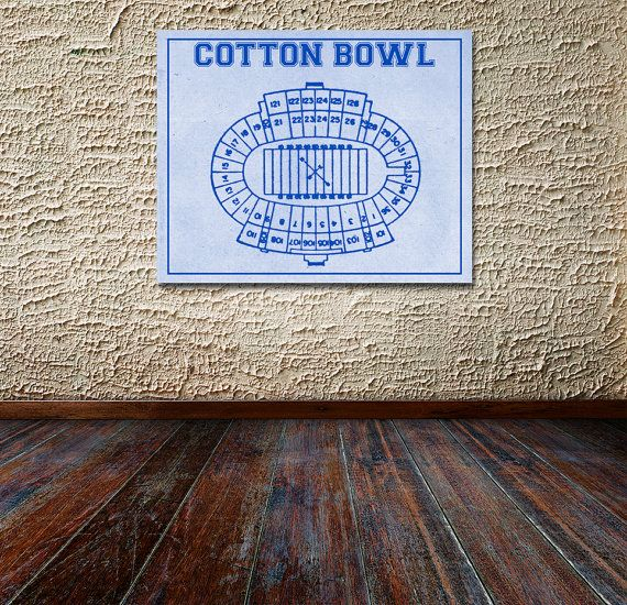 Vintage Print of Cotton Bowl Seating Chart Diagram by ClavinInc
