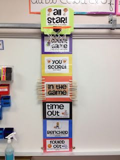 Im already interested in clip charts but i really like the sports theme. and if you go to her website she has lots of ideas for a sports themed classroom. Great to stress teamwork!