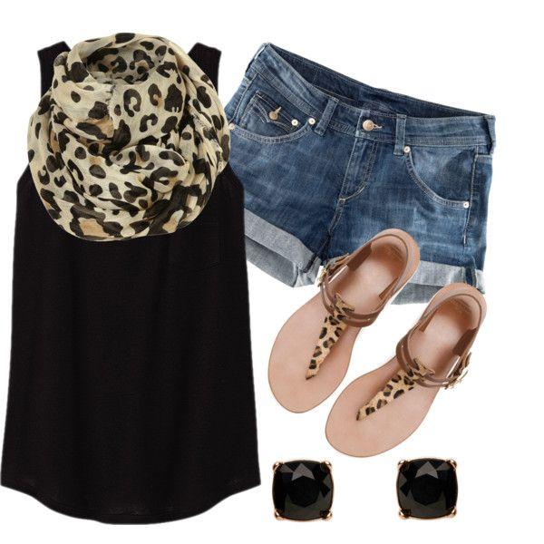 #summer #outfits / Cheetah Scarf + Cheetah Sandals