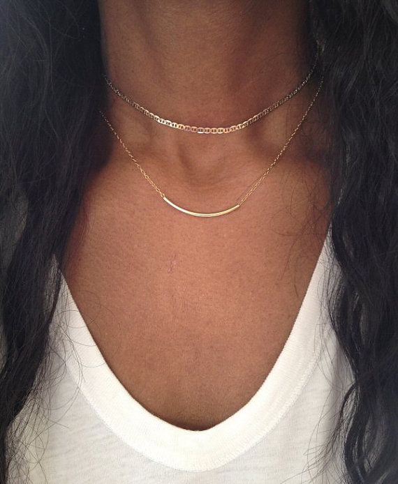 Gold Choker Necklace with chain// £28.99