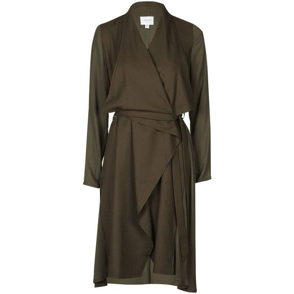 Hollywood Dress Style Trench by Jovonna (£75) ❤ liked on Polyvore featuring outerwear, coats, khaki, wrap coat, waterfall trench coat, trench coat, khaki coat e brown trench coat