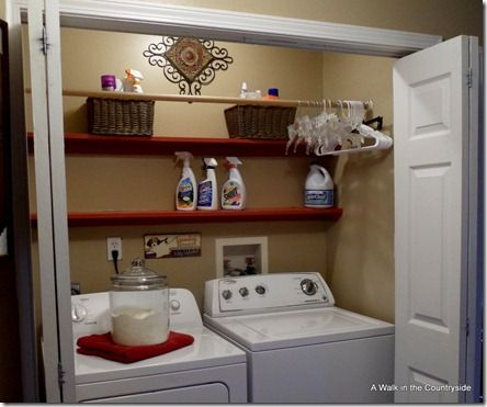 Laundry closet with closet rod