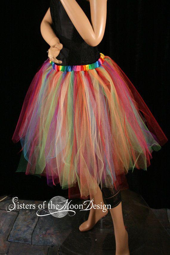 Adult Tutu Skirt Rainbow Streamer Knee Length Pride Halloween Costume Piece Dance Fairy Run