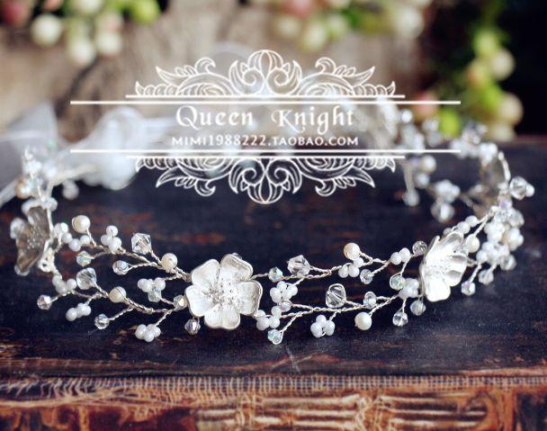 Эксклюзивные оригинальные европейские и американские ручной серебро жемчужные белые цветочные лозы плетут романтический свадебный венок заставку - Taobao