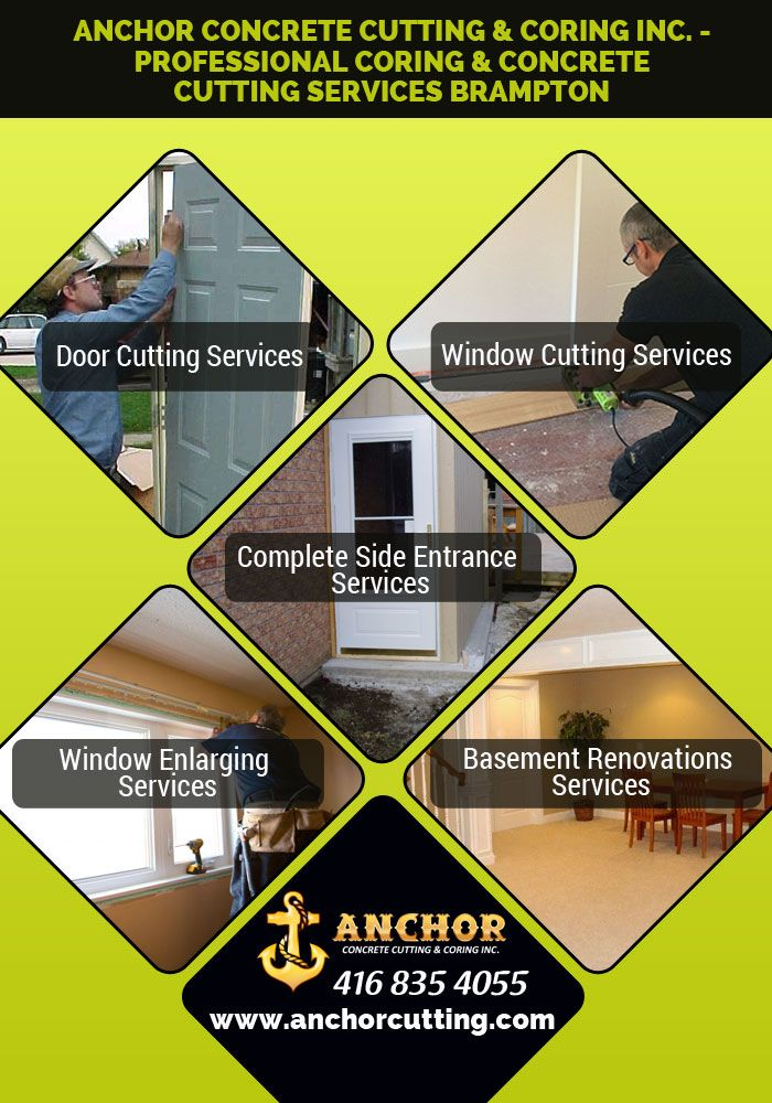 Anchor #concrete #cutting and #coring provide coring, #doorcutting, #wallcutting & #windowcuttingservice in #Brampton. So meet us and visit at anchorcutting.COM !!  #ConcreteCuttingServicesBrampton #ConcreteCoringBrampton #CoringServicesBrampton call today: 416-835-4055  7900 Hurontario Street Brampton, Ontario, ON L6Y 0C7