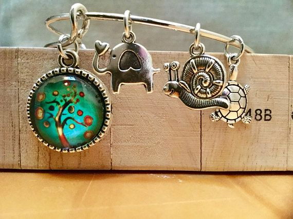 Psychedelic tree of life charm bracelet