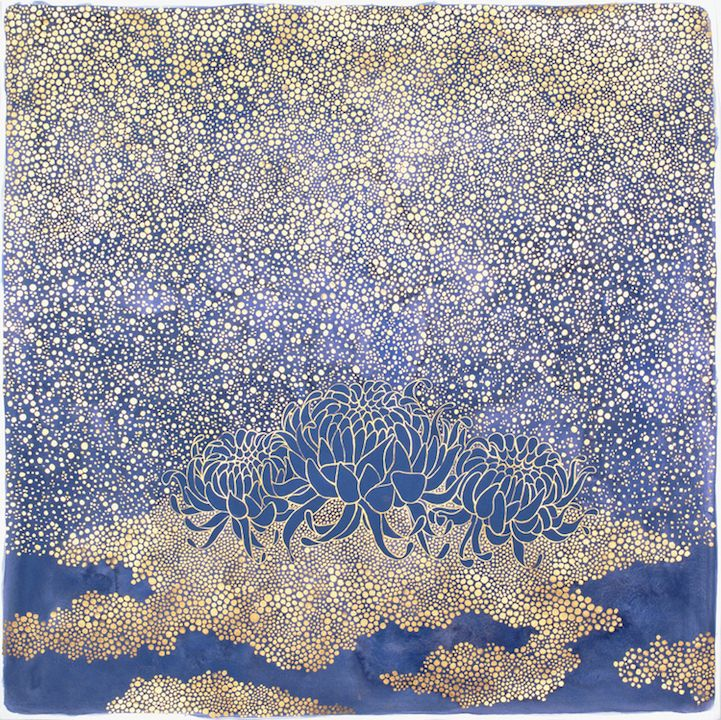 "Artist Crystal Liu fills her dazzling compositions with beautiful flora and meticulously painted gold dots. The minuscule circles move through each piece like waves, creating a feeling of motion as they expand and contract in size. At times, their placement mimics tiny islands or clouds—especially when set against dark backdrops of blue and black watercolor paint. This motif is punctuated with Chrysanthemum flowers that are large enough to ""rule"" the abstracted scenes. Liu's paper works…"