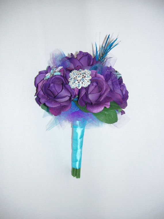 SALE: PEACOCK Bridal BROOCH Bouquet, Real Touch Purple Roses, Wedding Bouquet, Bridesmaid Bouquet, Ready To Ship, Save 20% at Checkout on Etsy, $138.00