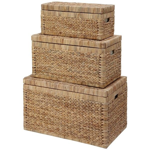 Set Of 3 Arrow Weave Wicker Storage Chests ($74) ❤ liked on Polyvore featuring home, home decor, small item storage, black wicker baskets, chocolate basket, black storage boxes, colored storage baskets and black storage baskets