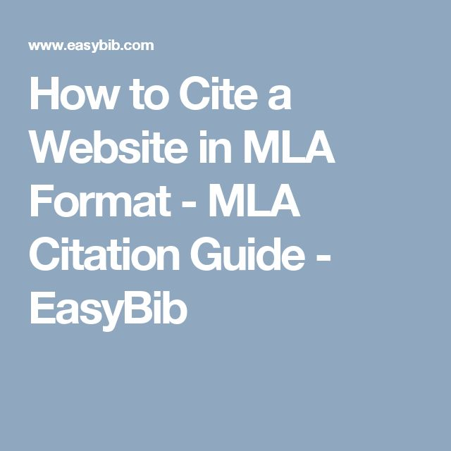 mla citation for websites