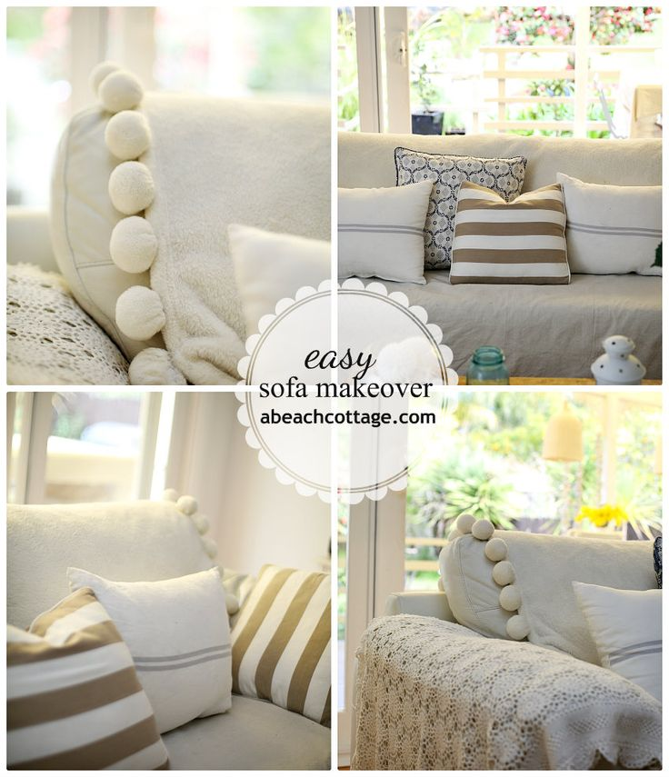No Sew Sofa Makeover How to Cover a Sofa with fabric / drop cloth - Beach Decor Blog, Coastal Blog, Coastal Decorating