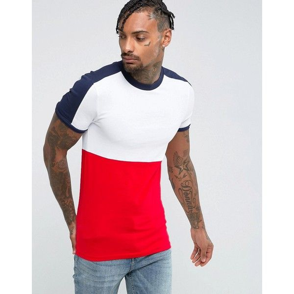 ASOS Extreme Muscle T-Shirt With Panel In Colour Block ($16) ❤ liked on Polyvore featuring men's fashion, men's clothing, men's shirts, men's t-shirts, red, asos mens shirts, men's color block t shirt, mens red long sleeve shirt, mens long sleeve shirts and mens red long sleeve t shirt