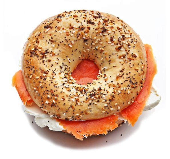 Lox and cream cheese on an everything bagel = my favorite breakfast food = in a history of new york in 50 objects by the NYTimes