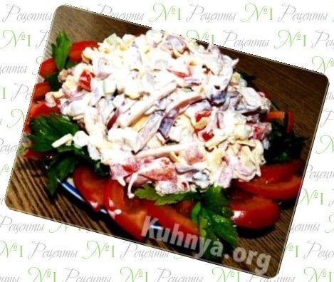 Рецепты салата крабового с помидорами без чеснока