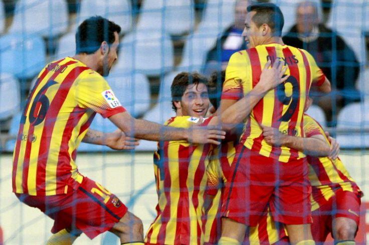 Los jugadores del Barcelona celebran su tercer gol ante el Getafe, obra del delantero Pedro Rodríguez