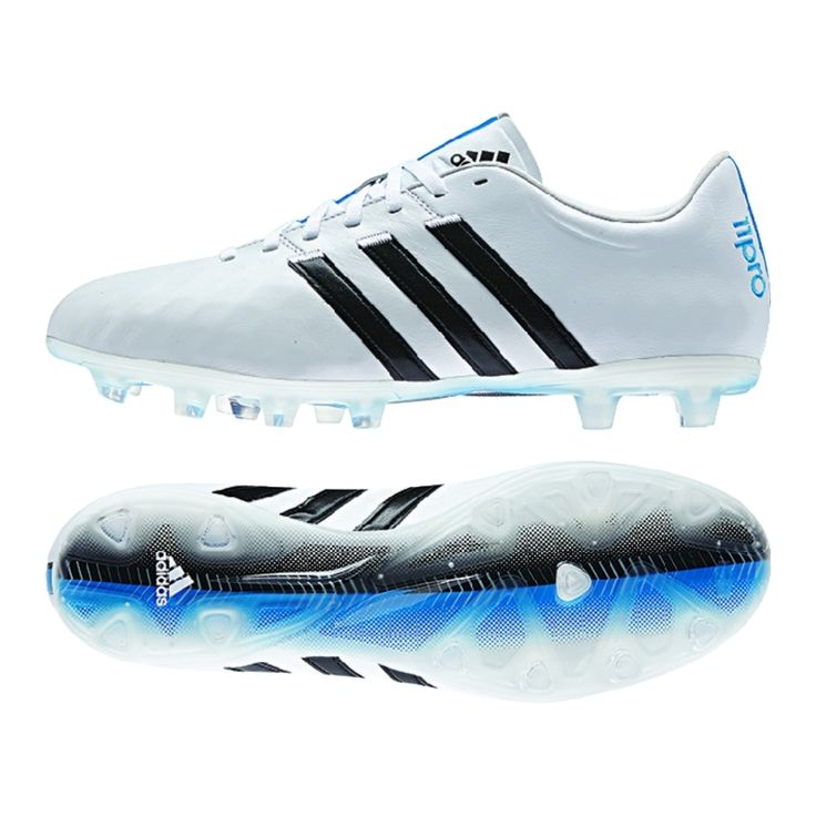 Get the brilliant, comfortable Adidas adiPure 11Pro FG Soccer Cleats (White/Black/Solar Blue) at SoccerCorner.com today!