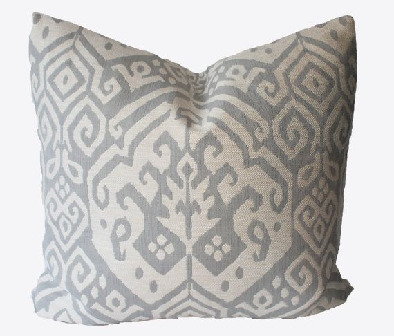 22x22 Throw Pillow Covers : Decorative Jacquard Gray Ikat, Old World Pillow cover, 18x18, 20x20, 22x22, Throw Pillow World ...