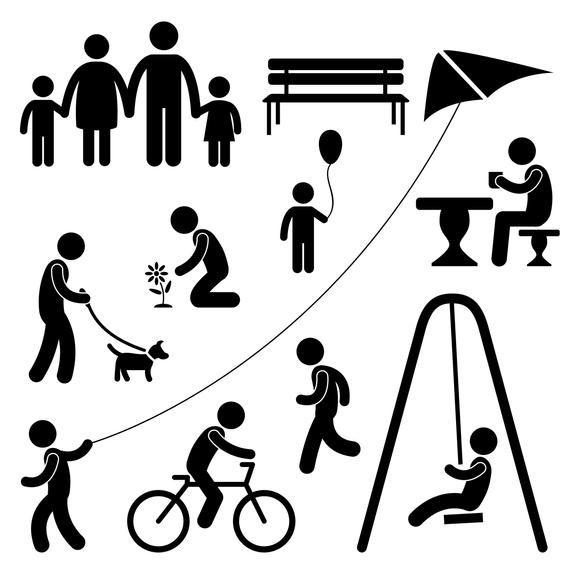 Family Park Playing Kite Man People Walking Dog Stickman Etsy In 2021 Pictogram Person Icon Gardening For Kids