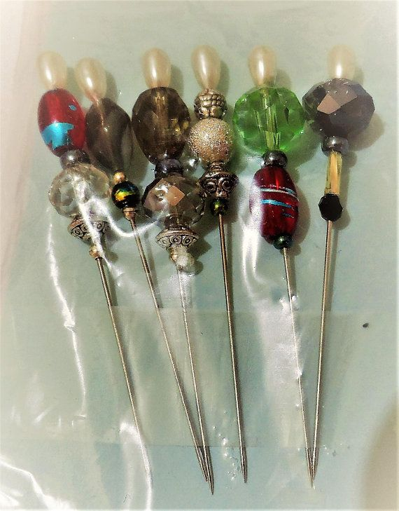 Stick Pins  Beaded Quilting Pins  Glass Beaded Stick Pins