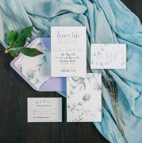 Floral calligraphy invitation suite with delicate floral backing by Lilly Cinnamon Wedding Stationery