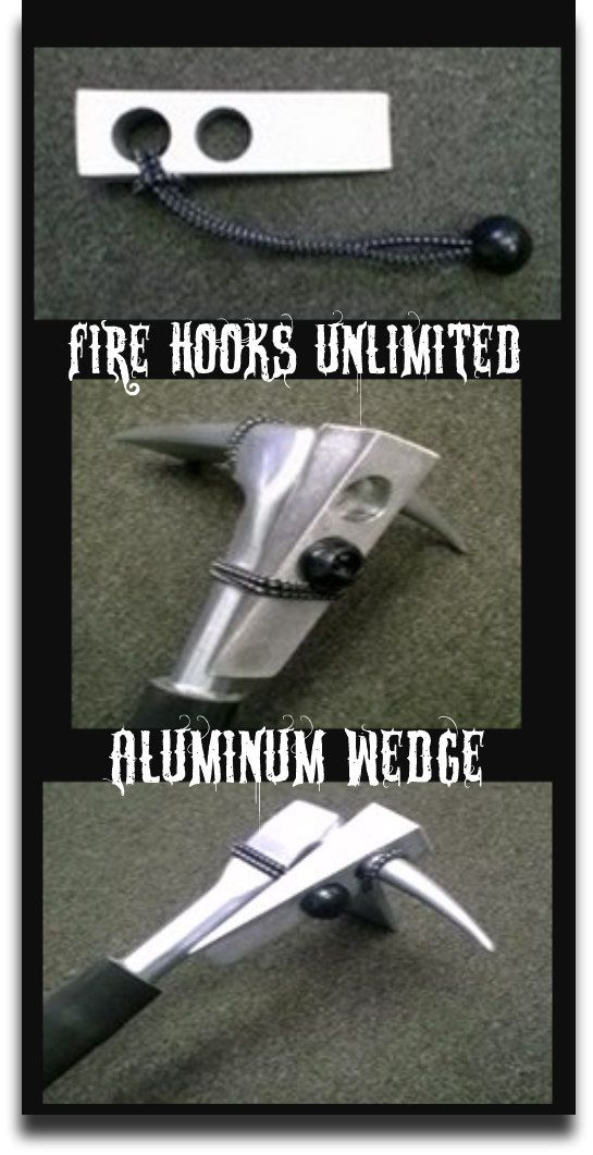 A positive aid for forcible entry made of 6061-T6 aluminum. The 7 oz wedge has a hole to fit a halligan spike and an 11 in. bungee cord attachment. #TheFireStore