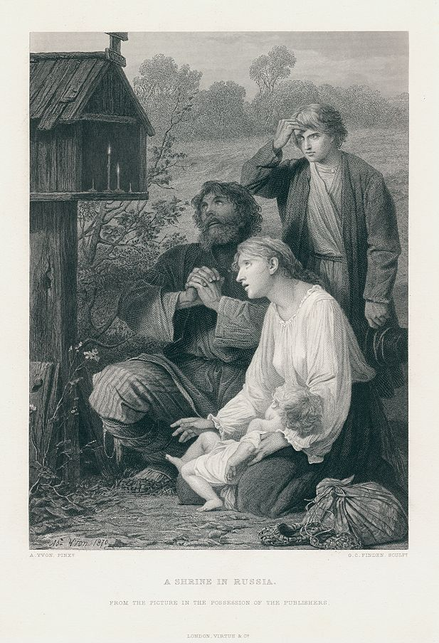 """A Shrine in Russia"" engraved by G.C.Finden after a painting by A.Yvon, published in The Art Journal, 1873. Steel engraved antique print. Very good condition. Size 18 x 27 cms including title, plus margins. Ref H344"