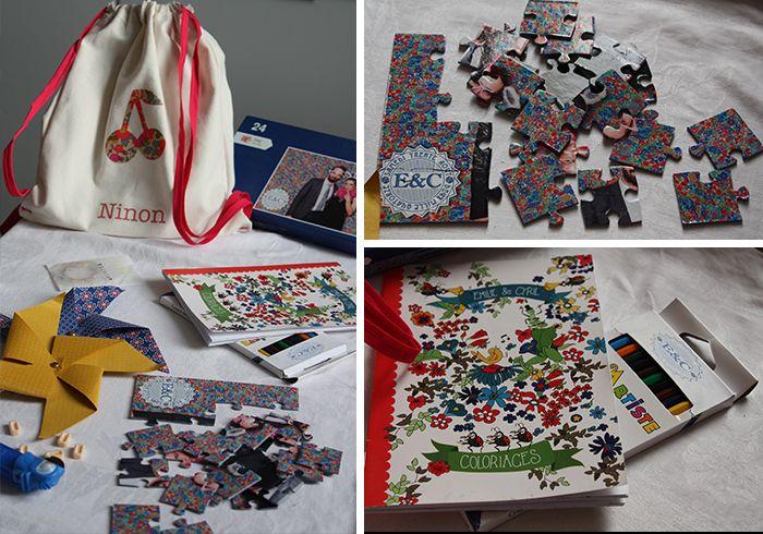 Sac à cadeau nominatif pour les enfants d'un mariage liberty : puzzle, livret de coloriage, bonbons rétros pez...