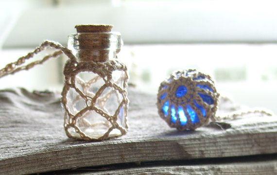Glass Bottle Necklace ~ Ecru >> by TheTreeFolkHollow on #Etsy