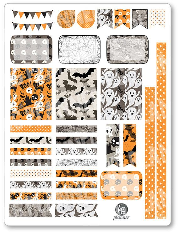 One 6 x 8 sheet of Old Halloween decorating kit/weekly spread planner stickers cut and ready for use in your Erin Condren life planner, Filofax,