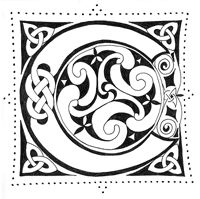 Illuminated Manuscript Coloring Pages | the letter C. Notice the circular design in the C