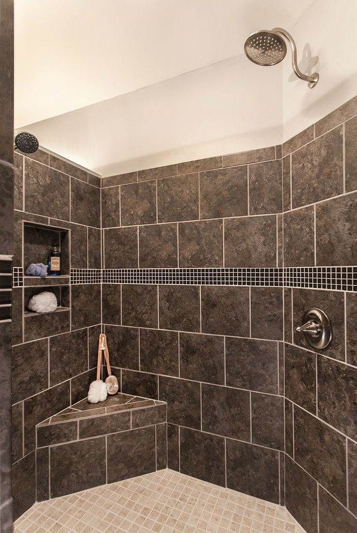 Walk-in shower with no door 2 shower heads built-in sh&oo niche and corner bench seat. I want a lower detachable shower head for bathing pets instead of ... : tile door - Pezcame.Com