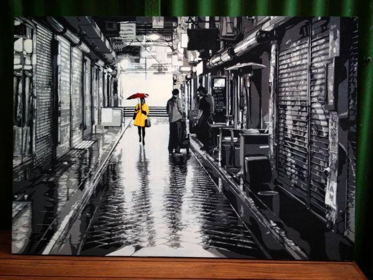 """4 layers on wood.  """"Girl in yellow"""" - Logan Moody 2013 www.loganmoody.com"""