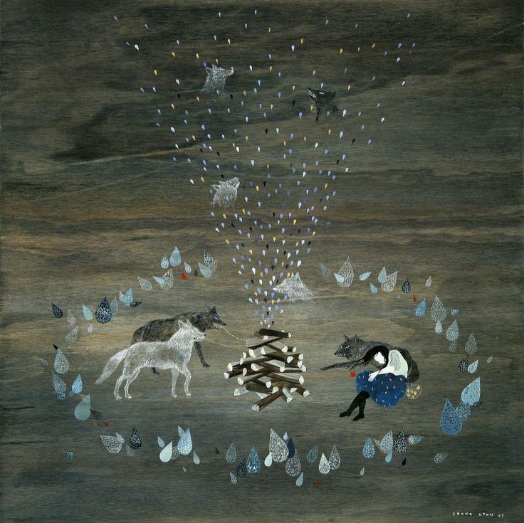 """Cold Night"" by Jeana Sohn. Acrylic and gouache on wood."