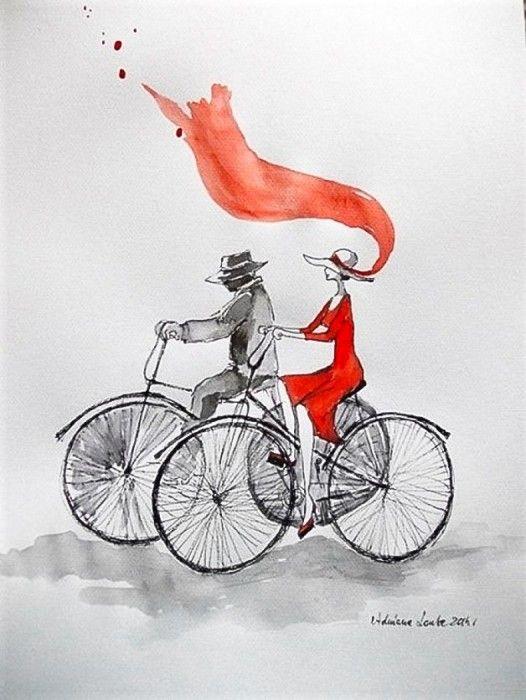 """""""Para na rowerze"""" praca akwarelą i piórkiem na papierze A3."""