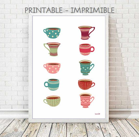 Lámina tazas,  lámina cocina, cocina, café, te, ilustracion, ilustraciones, imprimible, descarga, diseño digital, laminas digitales, arte
