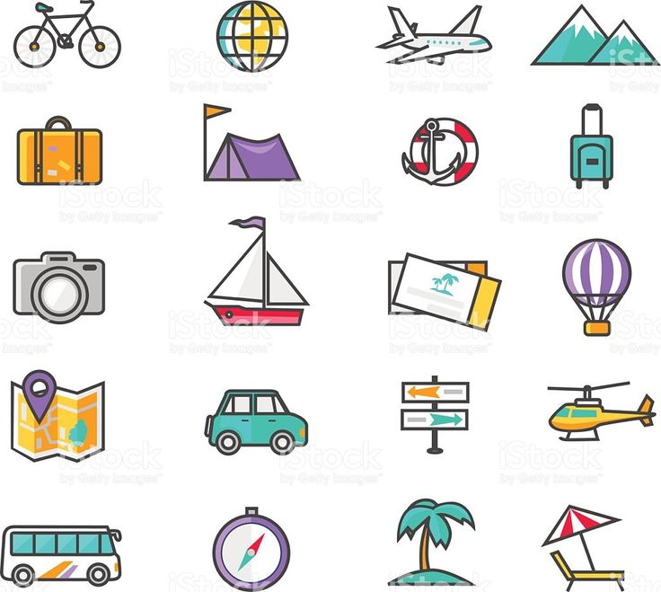 Set Thin Lines Icons of Traveling royalty-free stock vector art