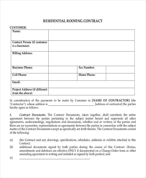 Free Residential Roofing Contract Forms Roofing Contract Roofing Contract Template Contract Template