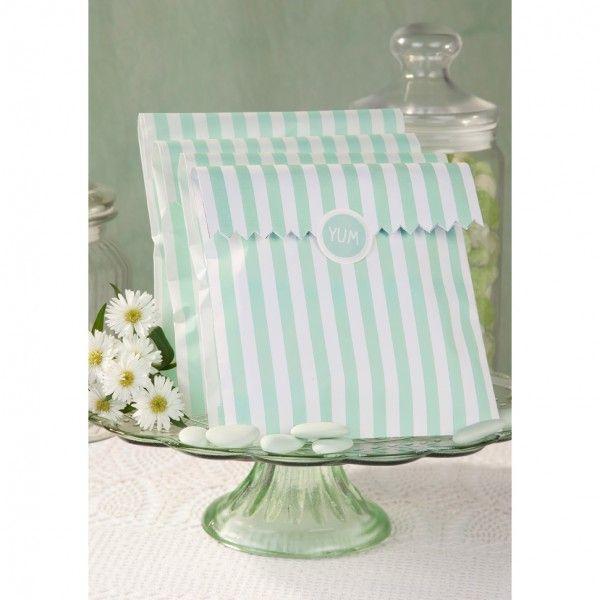 cadeau invité sachets confiserie rayures vert mint