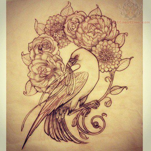 stunning crow tattoo outline