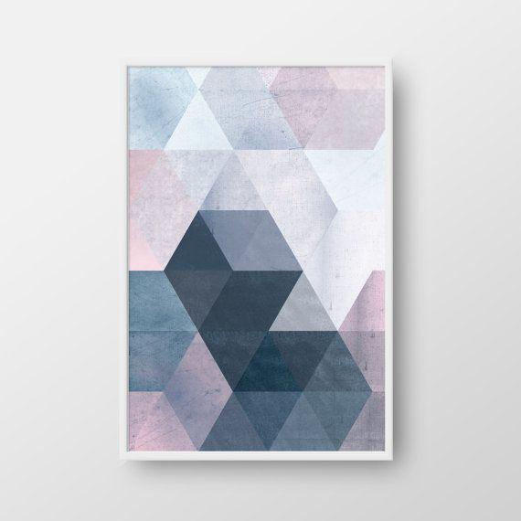 Printable Geometric Poster, Scandinavian Print, Nordic Poster, Modern Geometric…