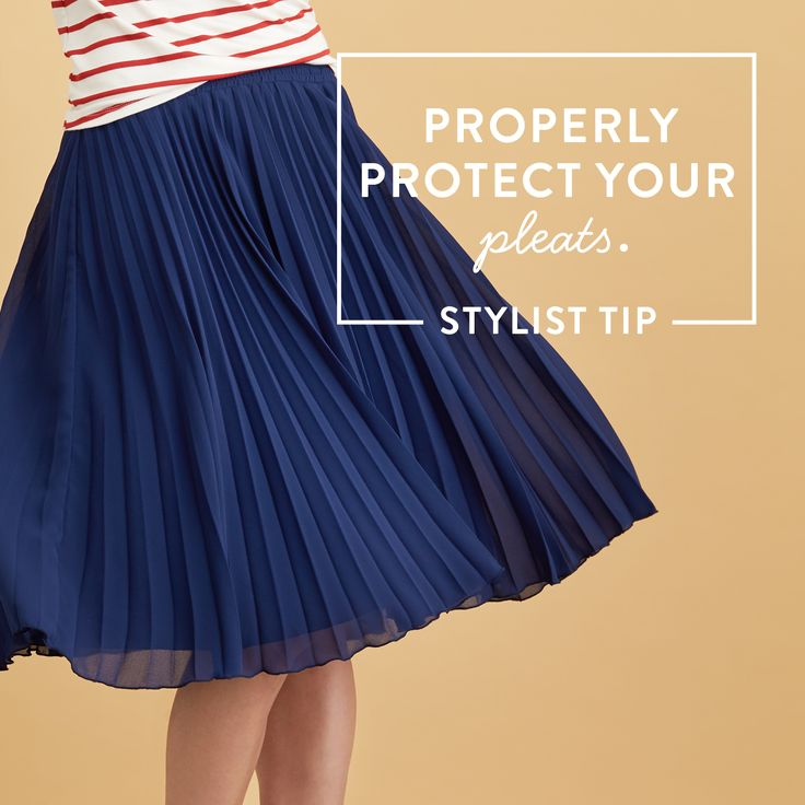 Care for your pleats! If you see stitching at the top of the folds, it's usually fine to wash them in a gentle cycle. If not, dry-clean to preserve the pleats. #StylistTip
