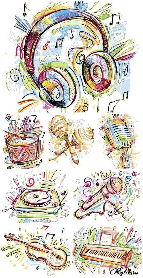 Музыкальные инструменты, наушники, микрофон - забавные векторные рисунки